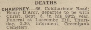 1942-09-08 The Western Daily Press 4 Deaths (Champney)