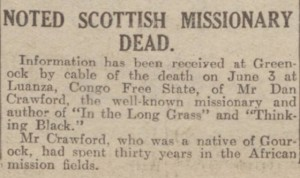 1926-06-10 Evening Telegraph and Post, Dundee 6 (Crawford)
